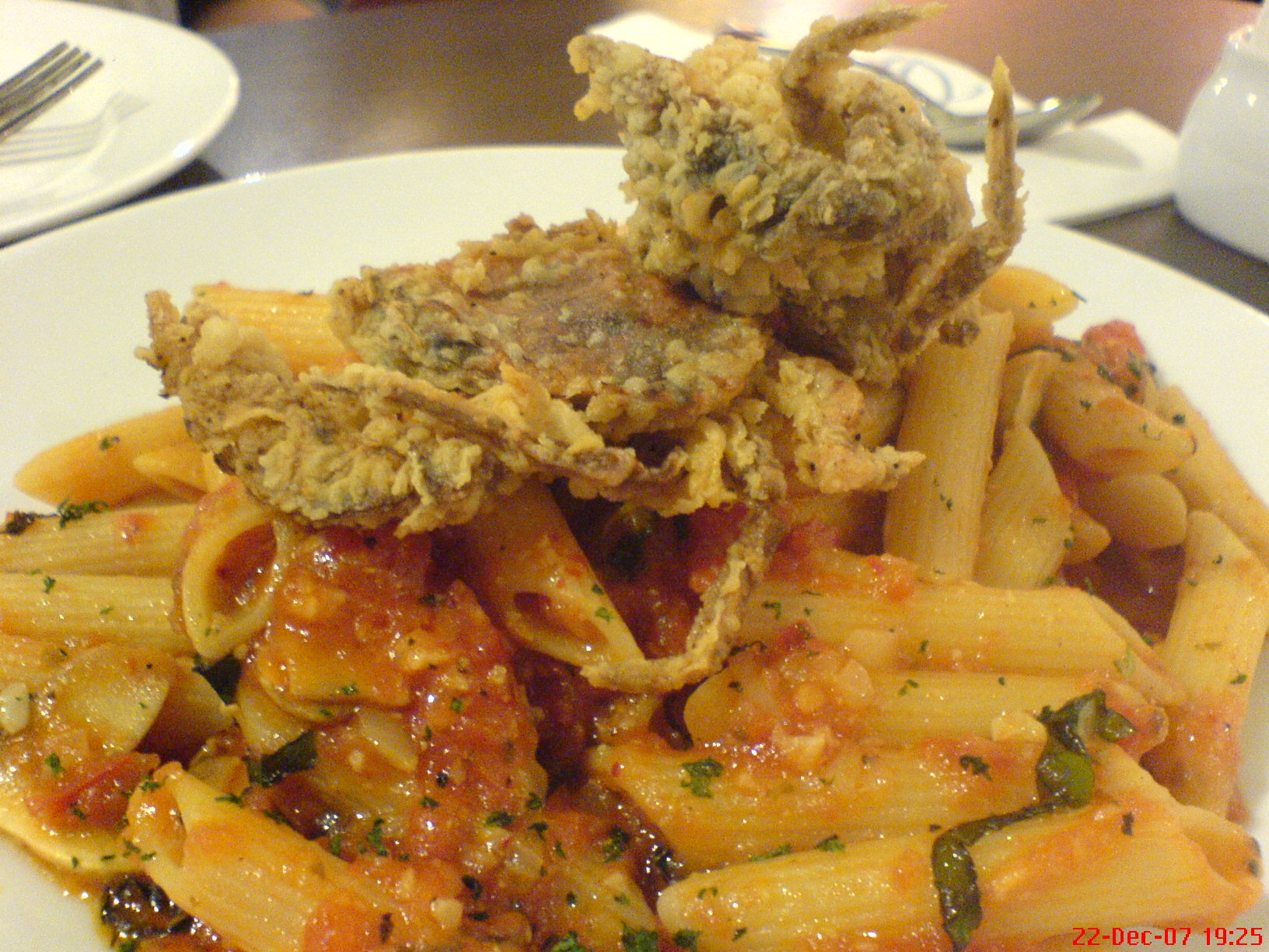 Soft shell crab penne