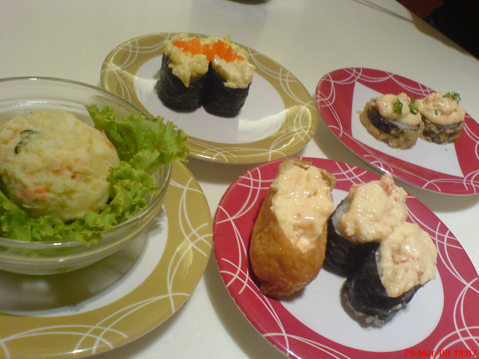 potato salad, lobster sushi, egg salad sushi