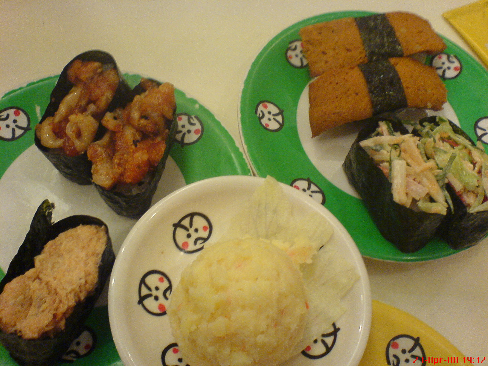 otak-otak, spicy salmon, crabstick salad, salmon salad, potato salad