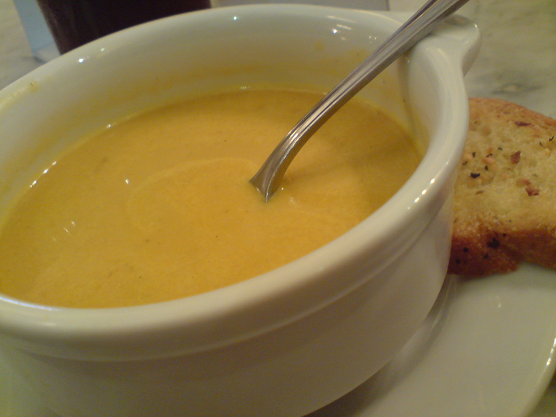 Pumpkin soup comes with the set lunch