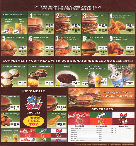 Wendy's menu, all prices are valid till date, courtesy of cheesykitty.blogspot.com
