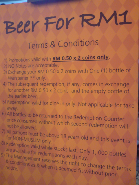 2×50cent for a bottle of German beer