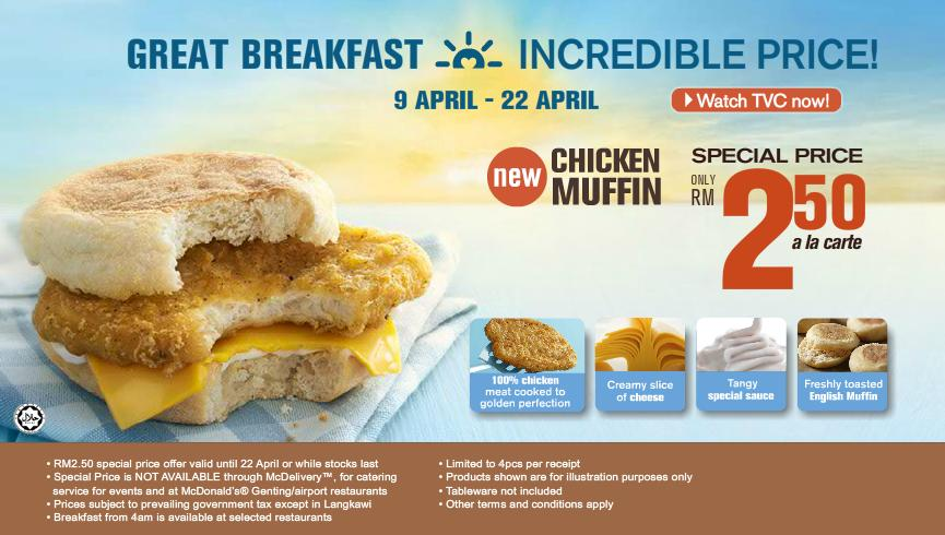 Breakfast Chicken Muffin RM2.50 Apr12