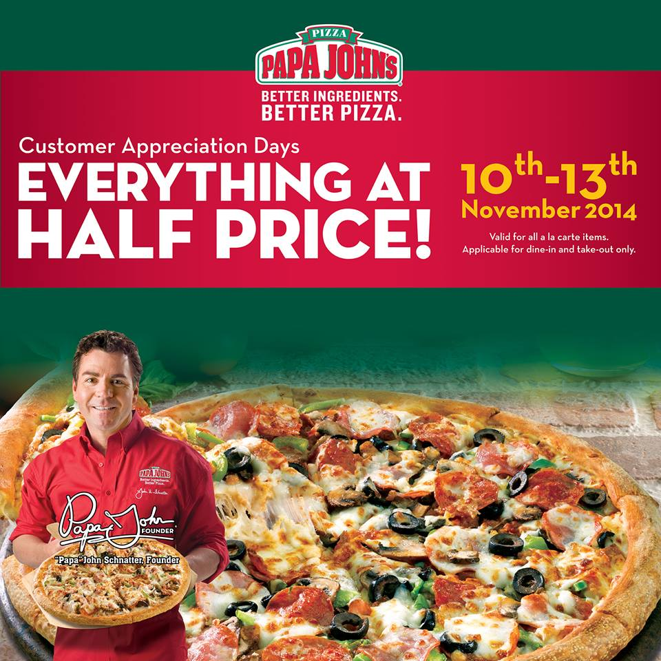 Papa John's 50% Discount Customer Appreciation Day
