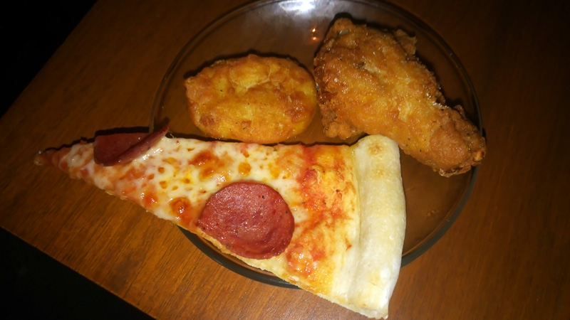 pizza, chicken wings, fish nuggets